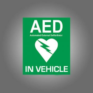 AeroSupplies AED In Vehicle (Window Sticker)